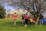 Tourists with tour guide at Thomas Jefferson's Poplar Forest, Forest, Virginia