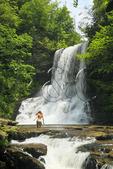 Hikers at Cascades Waterfall, Little Stony Creek, Pembroke, Virginia