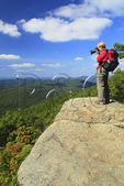 Hiker on Appalachian Trail near Mary's Rock, Shenandoah National Park, Virginia