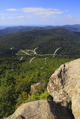 View of Skyline Drive at Thornton Gap from Appalachian Trail on Mary's Rock, Shenandoah National Park, Virginia