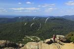 Hiker on Appalachian Trail on Mary's Rock, Shenandoah National Park, Virginia