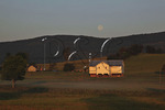 Sunrise and moon set over farm in Swoope, Shenandoah Valley, Virginia