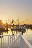 Sunset over harbor at Salter Path, Atlantic Beach, North Carolina, USA