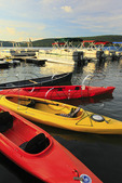 Kayaks and Boats at Silver Tree Marina on Deep Creek Lake, Thayerville, Maryland, USA