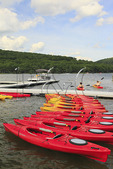 Kayakers leave from a marina on Deep Creek Lake, Thayerville, Maryland, USA