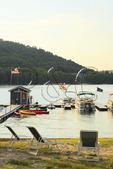 Sunset approaches at Silver Tree Marina on Deep Creek Lake, Thayerville, Maryland, USA