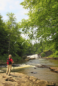 Hiker at Upper Swallow Falls, Swallow Falls State Park, Oakland, Maryland, USA