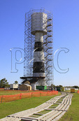 Bodie Island Lighthouse under restoration,  Cape Hatteras National Seashore, Whalebone, North Carolina, USA