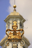 British crown atop Entrance Gate and Cupola of the Governor's Palace in the Historic Area, Colonial Williamsburg, Virginia, USA