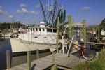 Fishing boats in harbor at Atlantic, North Carolina, USA