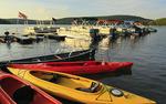 Kayaks and Boats at Silver Tree Marina on Deep Creek Lake, Thayerville, Maryland, USA