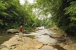 Hiker at Upper Swallow Falls, Swallow Falls State Park, Oakland, Maryland, USA