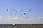 Kiteboarding on Pimlico Sound near Canadian Hole, Cape Hatteras National Seashore, Outer Banks, Buxton, North Carolina, USA