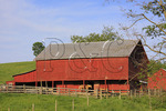 Red barn with horse near Middlebrook in the Shenandoah Valley, Virginia, USA