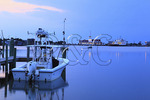 Twilight at Silver Lake Harbor, Ocracoke Island, Cape Hatteras National Seashore, North Carolina, USA