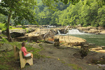 A visitor admires the view of the falls from a bench at Valley Falls State Park, Tygart Valley River, Grafton, West Virginia, USA