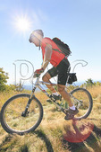 Mountain biker on Flagpole Peak near Reddish Knob in George Washington National Forest near Dayton, Virginia, USA