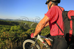 Mountain biker on Reddish Knob in George Washington National Forest near Dayton, Virginia, USA