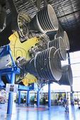 Visitors looking at Saturn V Engine, U.S. Space & Rocket Center, Huntsville, Alabama, USA