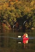 Couple canoeing at Town Creek area, Lake Guntersville Resort State Park, Guntersville, Alabama, USA