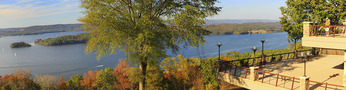 Guests admiring view of Guntersville Reservoir from lodge terrace, Lake Guntersville Resort State Park, Guntersville, Alabama, USA