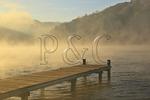 Morning fog on lake at Town Creek area, Lake Guntersville Resort State Park, Guntersville, Alabama, USA