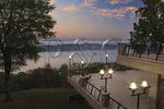 Sunrise view of Guntersville Reservoir from lodge, Lake Guntersville Resort State Park, Guntersville, Alabama, USA