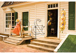 Woman in front of hat shop, Historic District, Colonial Williamsburg, Virginia
