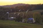 Farm in Arbor Hill at sunrise, Shenandoah Valley, Virginia