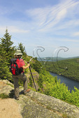 Beech Cliff and Canada Cliff Trail, Beech Mountain, Looking at Echo Lake, Acadia National Park, Mount Desert island, Maine, USA