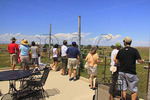 Visitors on elevated observation deck at The Wild Animal Sanctuary, Denver , Colorado, USA