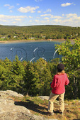Flying Mountain Trail, On Flying Mountain, Looking at Somes Sound, Acadia National Park, Mount Desert island, Maine, USA
