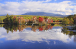 Standing on Appalachian Trail Looking at West Branch of Pennobscot River and Mount Katahdin, Abol Bridge, Millinocket, Maine, USA
