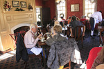 Eating at  the Fire at Kings Arms Tavern in Colonial Williamsburg, Virginia, USA