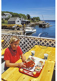 Eating Lobster at the dock, New Harbor, Maine
