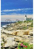 Couple walking the rocks, Pemaquid Lighthouse Park, New Harbor, Maine