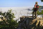 Rising Fog Over Shenandoah Valley, At Chimney Rocks, Riprap Trail, Shenandoah National Park, Virginia, USA