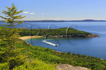 Tour Boat at Sand Beach seen from Gorham Mountain Trail, Acadia National Park, Maine, USA
