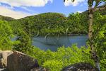 Look at Jordan Pond, Jordan - Bubble Ponds Carriage Loop Carriage Road Near Deer Brook Bridge, Acadia National Park, Maine, USA