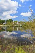 Three churches at millpond, Marlow, New Hampshire, USA