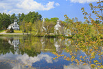 Three churches at millpond, Marlow, New Hampshire, USA