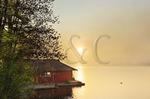 Boathouse, Winnisquam Lake, Sanbornton, New Hampshire, USA