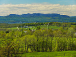 On Mount Philo, view of Lake Champlain and the Adirondack Mountains, Charlotte, Vermont, USA