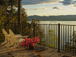 View of Lake Champlain and the Adirondack Mountains, Button Bay B and B, Pantone, Vermont, USA