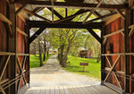 Farm and Covered Bridge, Pittsfield, Vermont, USA