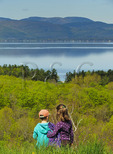 View From Lone Tree Hill, Lake Champlain and the Adirondack Mountains, Shelburne Farms, Shelburne, Vermont, USA