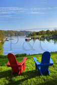 Basin Harbor Club, View of Lake Champlain and the Adirondack Mountains, Vergennes, Vermont, USA