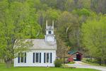 Church and Covered Bridge near West Arlington, Vermont, USA