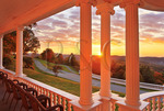 Sunrise, Moses Cone Mansion Porch, Moses Cone Memorial Park, Blue Ridge Parkway, North Carolina, USA