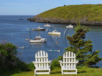 The Island Inn Lawn and Monhegan Harbor, Monhegan Island, Maine, USA